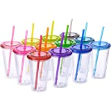 Cupture Classic Candy Insulated Tumbler Cup with Lid, Reusable Straw & Hello Name Tags - 16 oz, 12 Pack (Blue, Orange, Pink,
