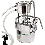 DIY Home Distiller Moonshine Still Stainless Boiler Thermometer Wine Spirits Essential Oil Water Brewing Kit (with Pump) (10L