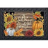"Briarwood Lane Be Grateful Thanksgiving Doormat Fall Floral Pumpkin Indoor Outdoor 18"" x 30"""