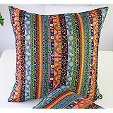 TAOSON Green Stripe Bohemian Style Antique Cotton Blend Linen Sofa Throw Pillowcase Cushion Cover Pillow Cover with Hidden Zi