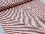 北欧風ストライプ&ウェーブ ピンク オックス生地 |スカラップ|波|幾何学柄|かわいい |北欧風|安い|服地| ソーイング