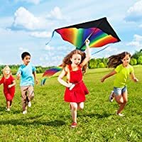 Extra Large Rainbow Kite For Kids Colourful & Stable Design Made With Durable Polyester Fabric Excellent For Outdoor Games & Activities Lightweight & Flyer For Amazing Memories & Fun