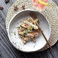 青い日本の食器 和風レトロクリエイティブ不規則セラミック食器フルーツサラダラーメンボウル ファッションフロントボウル