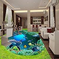 草原オーシャンワールド・ドルフィン・コーラル 3 D 階絵画自己粘着性ショッピングモール子供の部屋の壁画壁紙 350cmX245cm