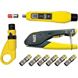 KLEIN TOOLS Coax Installation and Cable Testing Kit with Crimper, Stripper, Tester and F-Connectors VDV002-818