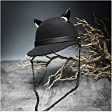Men's Women's Wool Fedora Hat Chain Devil Horn Wool Baseball Cap Equestrian Hat Punk Knight Cap,