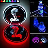2pcs LED Car Cup Holder Lights for Mustang Shelby Cobra, FBA Fast Delivery,Car Logo Coaster with 7 Colors Changing USB Chargi