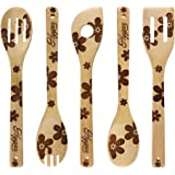 Wooden Burned Spoons Utensil Sets Flower Pattern House Warming Gifts Jungle Slotted Spoon Natural Organic Bamboo 5 Pieces Kit