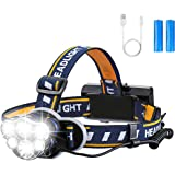 OUTERDO Super Bright Headlamp- 12000 Lumens 8 Lighting Modes with USB Cable 2Batteries, Rechargeable Head Torch Waterproof 90