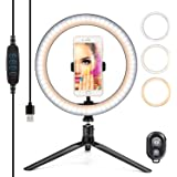 """10"""" Selfie Ring Light with Tripod Stand & Cell Phone Holder, LT 3 Colors 10 Brightness Dimmable Desktop LED Lamp Camera Ringl"""