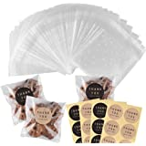200 Pcs Self Adhesive Cookie Bags Cellophane Treat Bags Thank You Cookie Bags for Gift Giving with Stickers(4x4in)