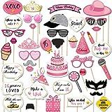 Sweet 16th Birthday 写真ブース小道具 (44個) 女の子用 おもしろいスイートシックスティーン誕生日パーティー写真小道具 スティック付き ピンクゴールド装飾 16歳の誕生日パーティー記念品 女の子用