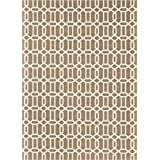 RUGGABLE Washable Indoor/Outdoor Stain Resistant Area Rug 2pc Set (Cover and Pad) Modern Fretwork Rich Tan & White (152 x 213cm)