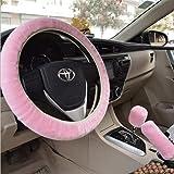 Fluffy Steering Wheel Cover Set,3pcs set Winter Warm furry Steering Wheel Cover&Handbrake Cover&Gear Shift Cover Set Faux Woo