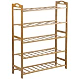 Bamboo Shoe Rack Storage Organizer Wooden Shelf Stand Shelves 3/4/5 Tiers Layers (5 Tiers)