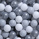 GOGOSO Ball Pit Balls - Plastic Play Pit Balls Crawl Balls with Color Grey, Light Grey, White for Baby Kids Playpen Pool, 2.2