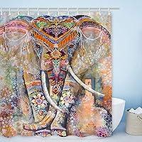 ポリエステルシャワーカーテンセットカラフルな象防水生地浴室カーテンサイズ 180X180 CM