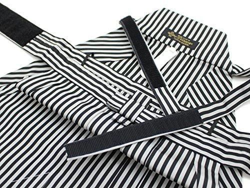 リメイク素材に最適! 七五三 袴セット 5歳 男の子 リサイクル 黒 縦縞 ワンタッチ帯 簡単 紐下60cm 中古