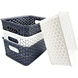 Haawooky 4 PCS Plastic Storage Basket,Plastic Weave Baskets,Weave Organizer Basket for Kitchen,Home and Office(2 White+2 Blac