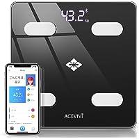 【2020最新進化版】体重計 体組成計 ACEVIVI bluetooth体重計 高精度&BIA技術 データ自動記録 体重/体脂肪率/骨量/BMIなど14項健康指標 日本語アプリ 登録人数無制限 Apple Health ・Google Fit・Fitbitと連携 隠しLED表示 超薄型 電池付属 人気 1年間保証(日本語説明書付き)