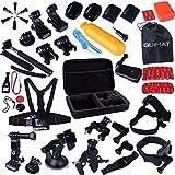 Kuman GOPRO HEROに適用 4/3+/3/2/1/SJ 4000 5000カメラ用アウトドアスポーツ アクセサリーセット カメラアクセサリーキット アウトドアスポーツ アクセサリーセット パラシュート、ダイビング、サーフィン、ボート、ランニング、サイクリング、登山 セット MH02
