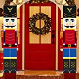 Jolik Christmas Nutcracker Banner Decorations Outdoor - 6.2ft Solider Nutcracker Christmas Banner for Front Door Yard Porch G