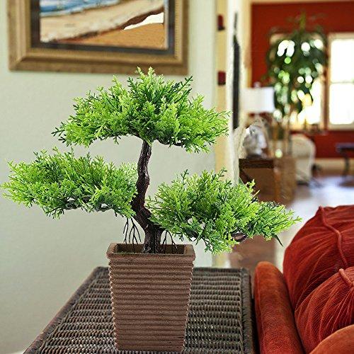 人工観葉植物 松 アーティフィシャルフラワー 瑞々しい フェイクグリーン H9.5cm鉢植え 木製感じの鉢(茶褐色)プレゼント 父の日 敬老の日