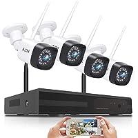 【強化版300万高画素登場】 A-ZONE 防犯カメラ ワイヤレス 屋外wifi 音声警報 無線 監視カメラ 4台 H…