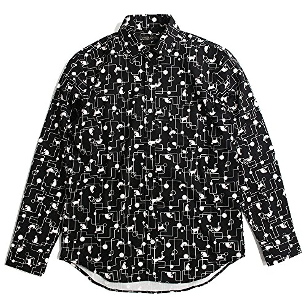 上陸適用済み金属QUINTETTO(クインテット) ネコ柄 モノトーン 長袖シャツ 派手柄 猫柄 幾何学柄 メンズ カジュアル 日本製 01-78145 (XL, ブラック(BLACK))