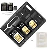 SIMカード & MicroSD ホルダー 2 リリースピン 2パック カード 2収納ケース マイクロ ナノ Micro-SD メモリー カード ケース 2つ SIM用交換ピン iPC003BK