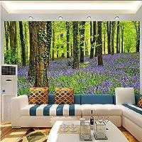 Xbwy 3D壁の壁画壁紙自然の風景紫色の花と森大Hd壁画寝具ルームテレビの背景壁の家の装飾-120X100Cm