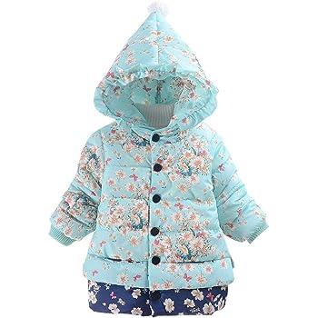 82edf482cf9b6 ARABOYO 女の子 ダウンコート 小さい花柄 長袖 軽量 新製品 厚手 防風 正月 アウター 誕生