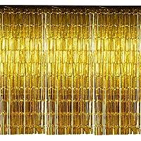 Kesoto ハロウィン 飾り付け パーティー カーテン 垂れ幕 金色と銀色 4本入り 245x92cm お正月 新年 忘年会 誕生日 舞台背景 キラキラ デコレーション イベント ゴージャス ウェディング