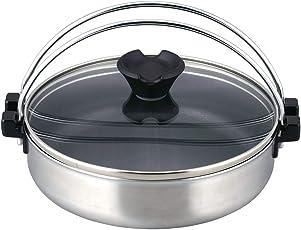 和平フレイズ ミニすき焼き鍋 18cm ガラス蓋付 ジャストパン IH対応 二層鋼 JR-7684