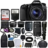 Canon EOS 80D DSLR Camera Body + Canon EF-S 18-55mm IS STM & EF 75-300mm III Lens + 58mm 2x Lens + Wide Angle Lens + 32GB Memory Card + Flash + Quality Tripod + 3 Piece UV Filter Kit + Value Bundle [並行輸入品]