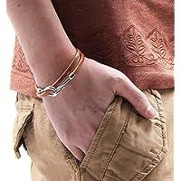シルバーフッ ク革ヒモレザー ブレスレット 革紐 メンズ レディース シンプル Fサイズ キャメル