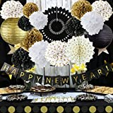 Happy New Year Decorations Happy New Year Banner Chinese Paper Lanterns Tissue Paper Flowers Pom Poms Hanging Paper Fans Garland New Years Eve Party Decorations Kit [並行輸入品]