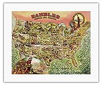 我が国を散策 - 1890年代の米国地図 - ビンテージ イラスト マップ c.1890 - キャンバスアート - 41cm x 51cm キャンバスアート(ロール)