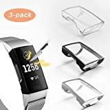 3 Pack Compatible with Fitbit Charge 4/Charge 3 Screen Protector,Valband Ultra Slim Soft Full Cover Case [Scratch-Proof] Bump