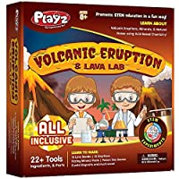 Playz Volcanic Eruption & Lava Lab Science Experiments Kit - 22+ Tools to Make Lava Bombs,Volcano Eruptions,Fizzing Mineral Pools,Fake Poison Gas,& Crystal Deposits for Boys,Girls,& Teenagers [並行輸入品]