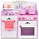Kids Pretend Kitchen Play Set, Kids Cooking Role Play Toy Set Home Cookware, Children Wooden Cooking Toys Food Utensils Appli