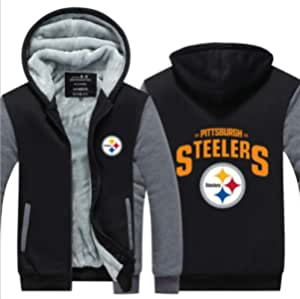 メンズパーカーフルジップベルベットSTEELERSは冬に適し厚手のフード付きセーターコートフリースパーカーを、印刷します