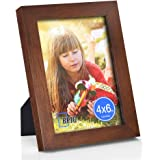 (10cm x 15cm , Brown-flat Edge) - 10cm x 15cm Picture Frame Made of Solid Wood High Definition Glass for Table Top Display an