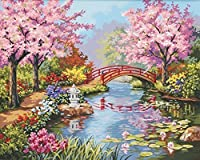 E-onelife Diy Oil Painting, Paint By Number Kits For Children, Japanese Garden Diy Digital Oil Painting Without Wooden Frame by E-onelife [並行輸入品]
