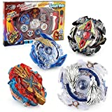 TuKIIE Battling Tops Battle Burst Tops Bey Battling Gyro, 4X High Performance Tops Metal Fusion Attack Set with Launcher and