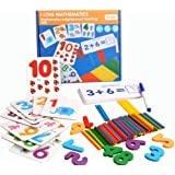 AOLIGE Math Flash Cards Games with Counters for Kids Ages 4-8 Montessori Math Materials for Preschool Number Matching Puzzles