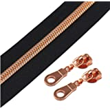 (Rose Gold Black) - YaHoGa 5 Rose Gold Metallic Nylon Coil Zippers by The Yard Bulk 10 Yards Black Tape with 25pcs Sliders fo