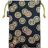 千糸繍院 西陣織 金襴 巾着袋(裏地付き) 金丸紋/黒 大サイズ