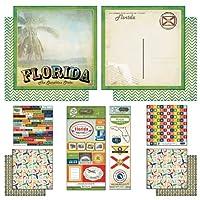 スクラップブックCustomsテーマPaper andステッカースクラップブックキット、フロリダ州ヴィンテージ