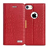 iPhone7ケース iphone7ケース 手帳型,WWW®[RFIDブロッキング] 100%手作り [高級感抜群]良質PUレザーケース マグネット式吸着 手帳型 カード入れ タンド機能 マグネット開閉 保護カバー(レッド) [並行輸入品]